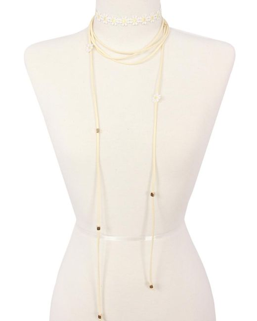 Sparkling Sage - White 14k Plated Suede & Fabric Choker Necklace - Lyst