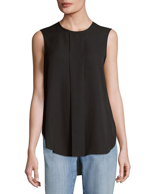 Vince Camuto - Black Pleated High-low Blouse - Lyst