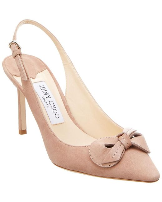 Jimmy Choo - Pink Blare 85 Suede & Kid Leather Slingback Pump - Lyst