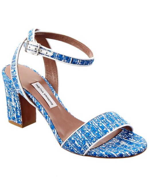 Tabitha Simmons - Blue Leticia Tweed & Nappa Leather Sandal - Lyst