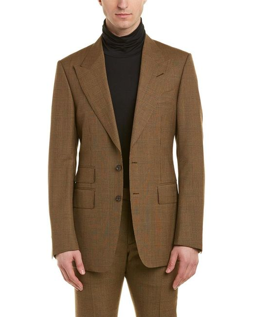 Tom Ford Brown Shelton 2pc Wool Suit With Flat Pant for men