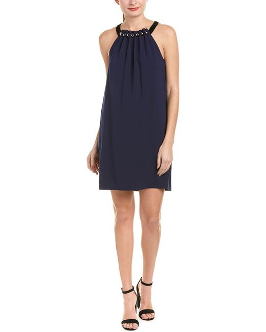 BCBGMAXAZRIA - Blue Roya Silk-blend Shift Dress - Lyst