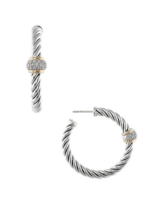 David Yurman - Metallic David Yurman Metro 18k & Silver 0.25 Ct. Tw. Diamond Drop Earrings - Lyst