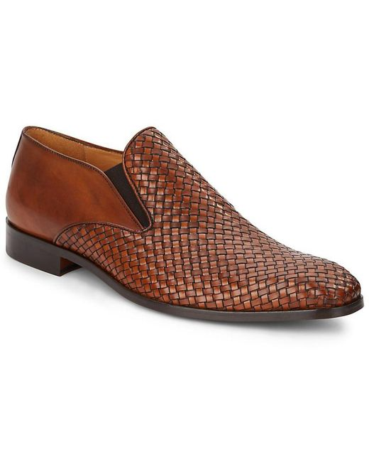 Saks Fifth Avenue - Brown Double Gore Woven Leather Loafers for Men - Lyst