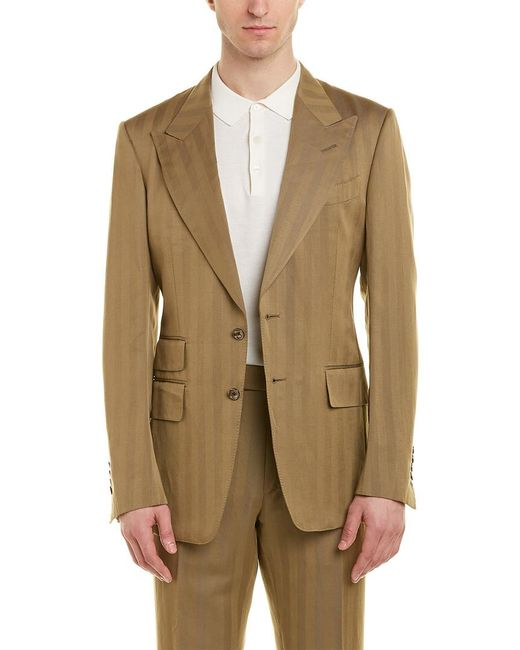 Tom Ford Green Shelton 2pc Wool & Linen-blend Suit With Flat Pant for men