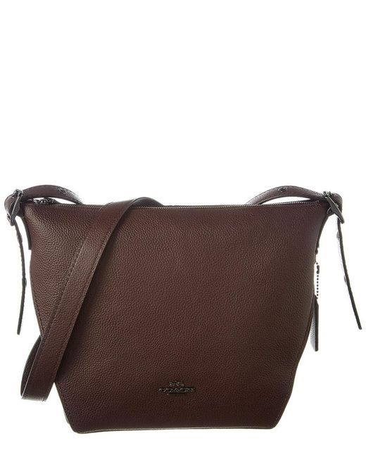 6071a5228459 COACH - Brown Small Leather Dufflette - Lyst ...