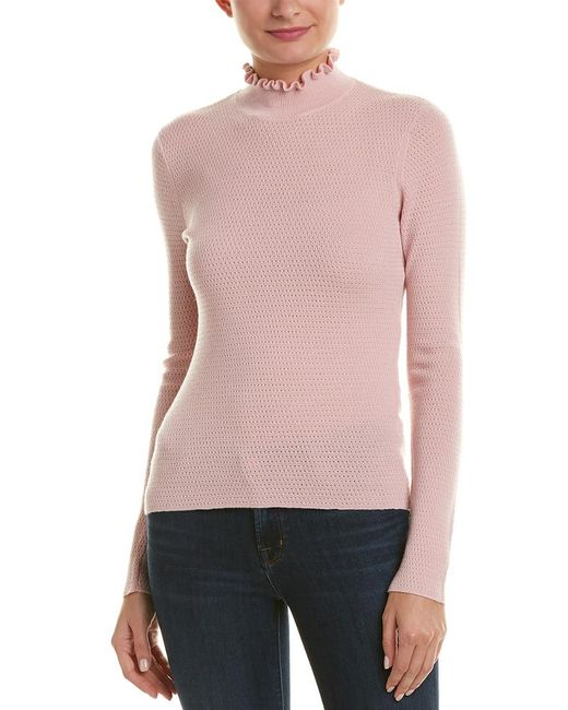 Rebecca Taylor - Pink Pointelle Wool Pullover - Lyst