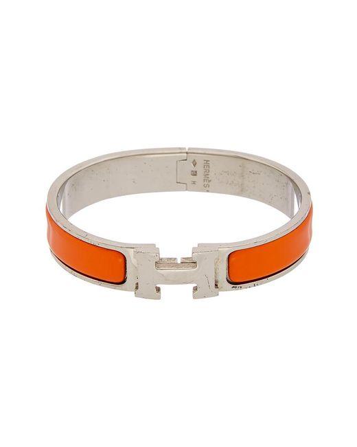 Hermès - Multicolor Orange Enamel Narrow Clic-clac H Bracelet - Lyst