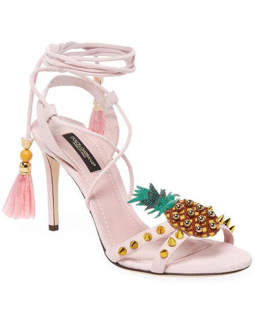 Dolce & Gabbana - Pink Pineapple-embellished Leather Pump - Lyst