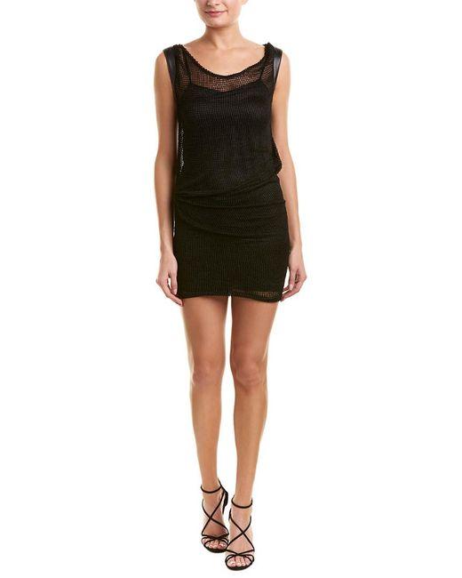 946edaaf53d Lyst - The Kooples Net Leather-trim Shift Dress in Black - Save ...