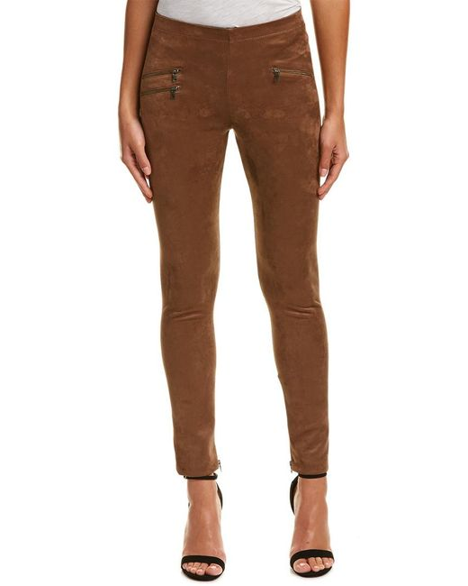 BCBGMAXAZRIA - Brown Zippered Legging - Lyst