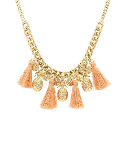 Sparkling Sage - Metallic 14k Plated Pineapple Tassel Necklace - Lyst