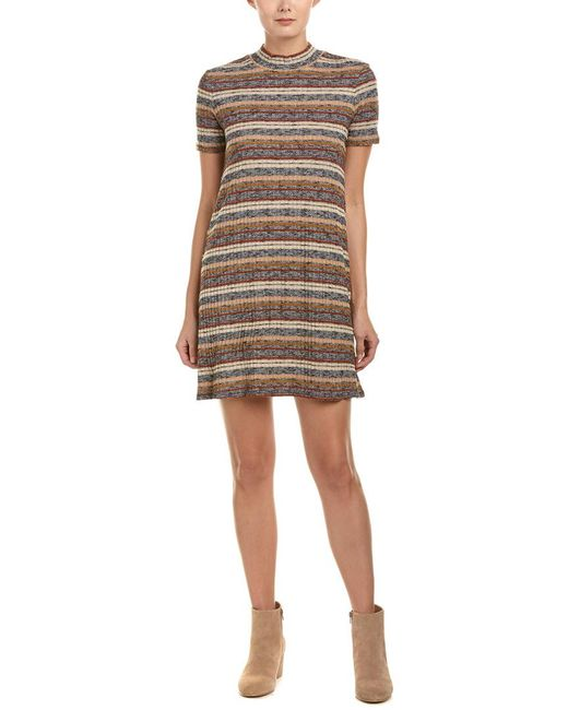 BCBGeneration - Gray Striped Sweaterdress - Lyst