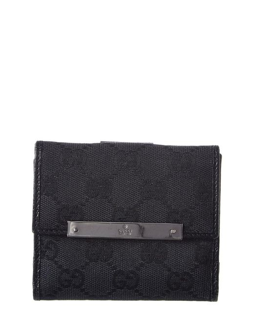 Gucci Black GG Canvas & Leather French Wallet