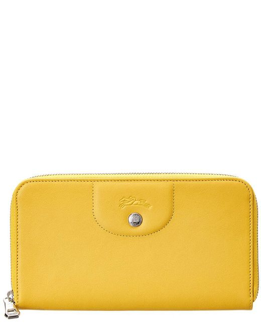 Longchamp - Yellow Le Pliage Cuir Leather Zip Around Wallet - Lyst