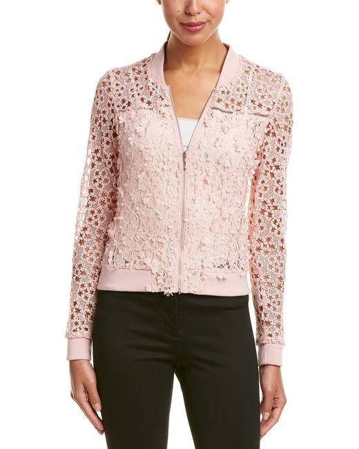 T Tahari | Pink Fatima Floral Lace Bomber Jacket | Lyst