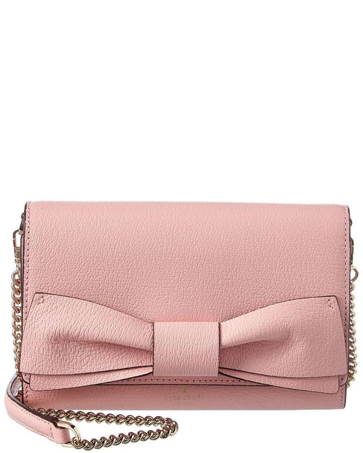 Kate Spade - Pink Olive Drive Agnes Bow Leather Crossbody - Lyst
