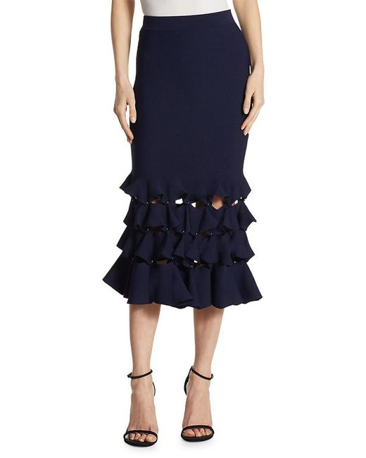 Jonathan Simkhai - Blue Slashed Knit Trumpet Skirt - Lyst