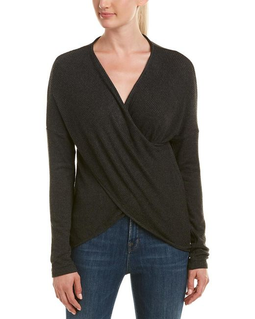 Three Dots - Gray Brushed Crossover Sweater - Lyst