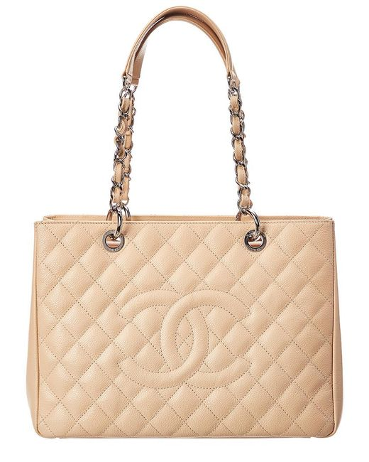 Chanel - Natural Beige Quilted Caviar Leather Grand Shopping Tote - Lyst