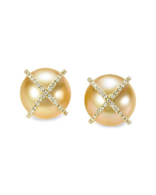 Tara Pearls - Metallic 18k 0.38 Ct. Tw. Diamond & 12-13mm South Sea Pearl Top Earrings - Lyst