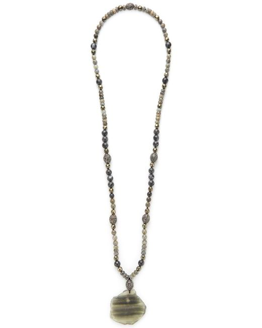 Hipchik Couture - Metallic Pyrite & Agate Slice Necklace - Lyst