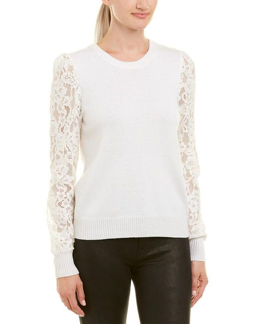 Rebecca Taylor - White Lace-sleeve Wool-blend Pullover - Lyst