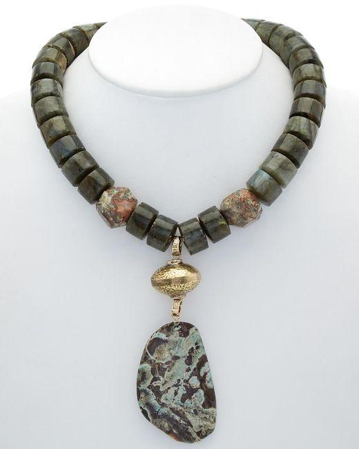 Devon Leigh - Metallic 14k Plated Labradorite & Jasper Necklace - Lyst