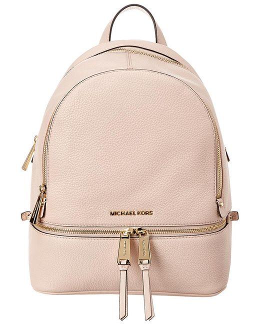 2b4af83720 MICHAEL Michael Kors - Pink Women's Rhea Zip Leather Backpack - Black ...