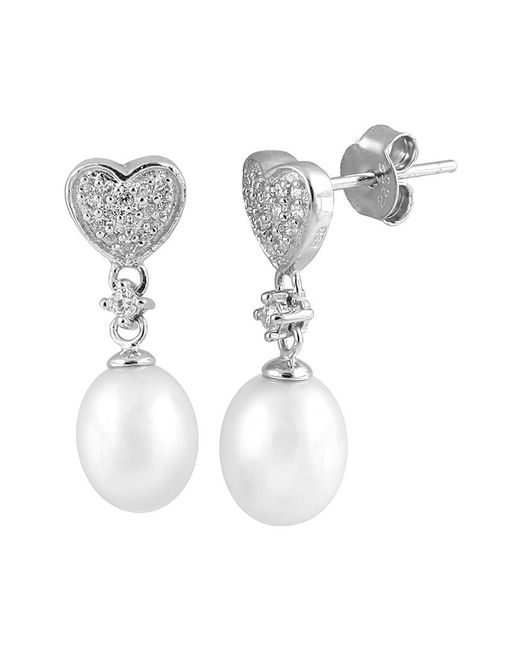 Splendid - White Rhodium Plated 7-7.5mm Freshwater Pearl Earrings - Lyst