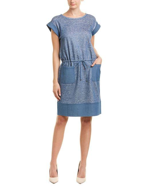 5bcff220188 Lafayette 148 New York - Blue Scoop Neck Linen-blend Shift Dress - Lyst ...