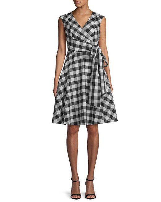 8d07fe17 Calvin Klein Gingham Wrap Dress in Black - Save 23% - Lyst