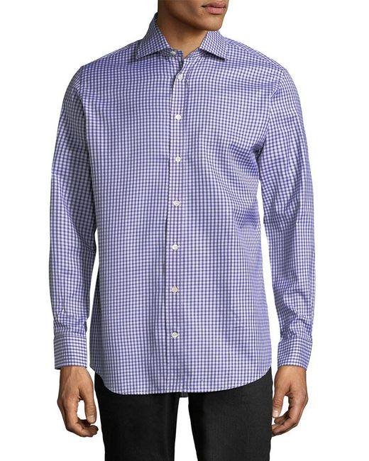 Luciano Barbera - Blue Checkered Buttons Sportshirt for Men - Lyst