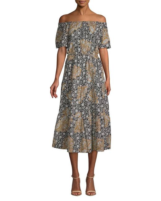 A.L.C. - Black Doris Printed Off-the-shoulder Midi Dress - Lyst