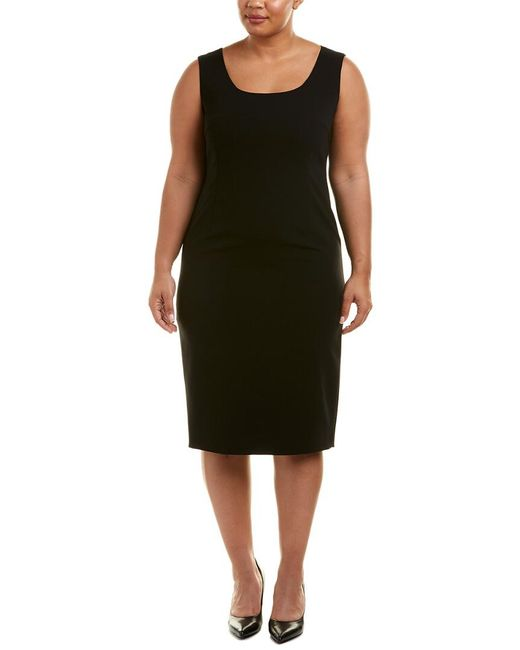 Marina Rinaldi - Black Plus Silk-trim Sheath Dress - Lyst