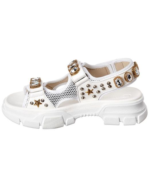 ac603a324a3 ... Gucci - Multicolor Crystal Embellished Leather And Mesh Sandal - Lyst