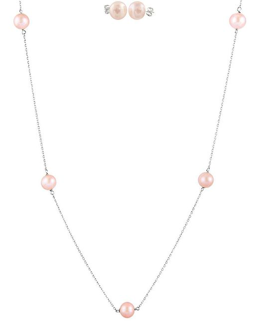 Splendid - Metallic Rhodium Plated Silver 7-8mm Freshwater Pink Pearl Stud Earring & Necklace Set - Lyst