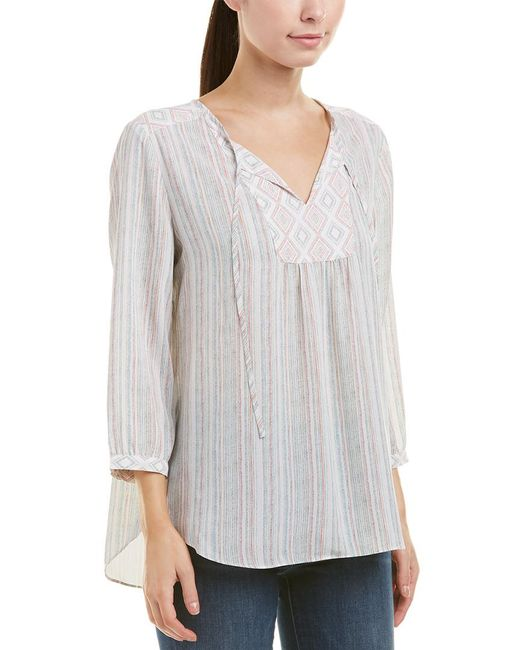 NYDJ - White Stripe Peasant Blouse - Lyst