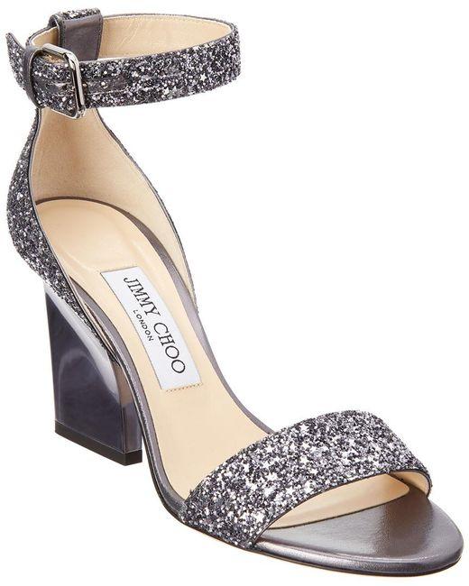 Jimmy Choo - Gray Edina 85 Coarse Glitter Sandal - Lyst