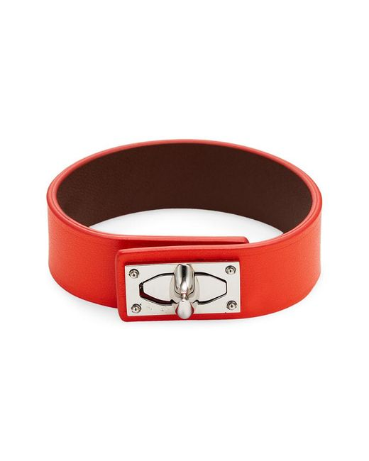 Givenchy - Red Shark Lock Leather Bracelet - Lyst