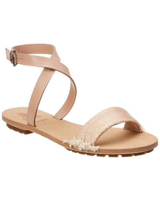 Brunello Cucinelli - Natural Leather Ankle Wrap Sandal - Lyst
