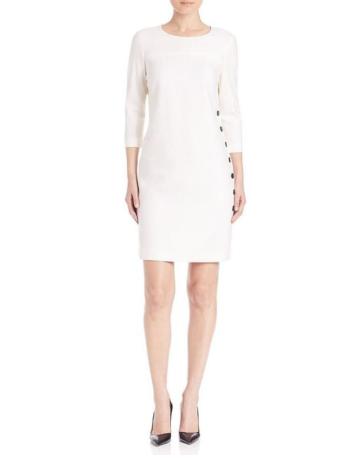 ESCADA - White Solid Round Neck Dress - Lyst