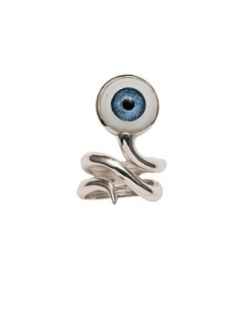 Bernard Delettrez | Metallic Silver Snake Ring With Eye | Lyst