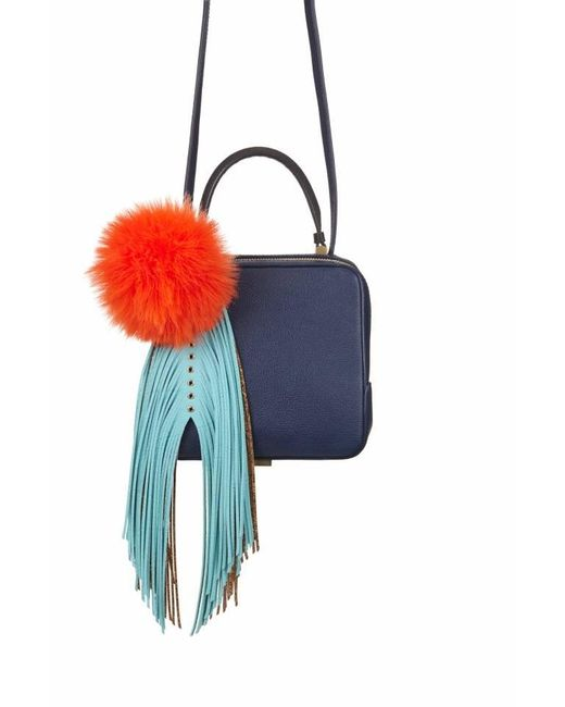 The Volon | Blue Navy Cube Shoulder Bag With Fridge & Pom Pom | Lyst
