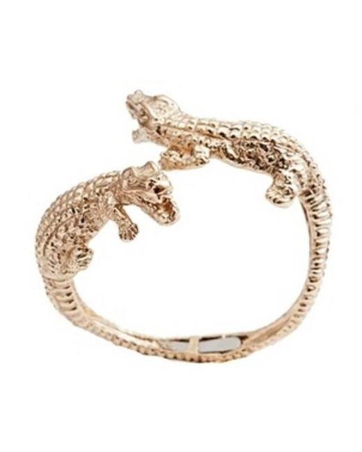 Bernard Delettrez | Metallic Double Crocodile Gold Cuff | Lyst