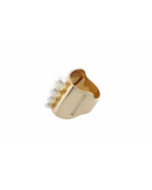 Karapetyan | Metallic Marie Chunky Pink Gold Plated Pearl Ring | Lyst