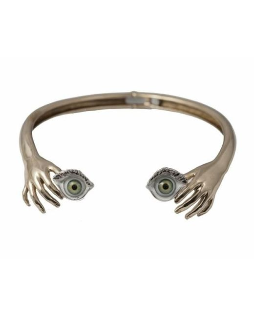 Bernard Delettrez | Metallic Brass Hand Necklace With Green Eyes | Lyst