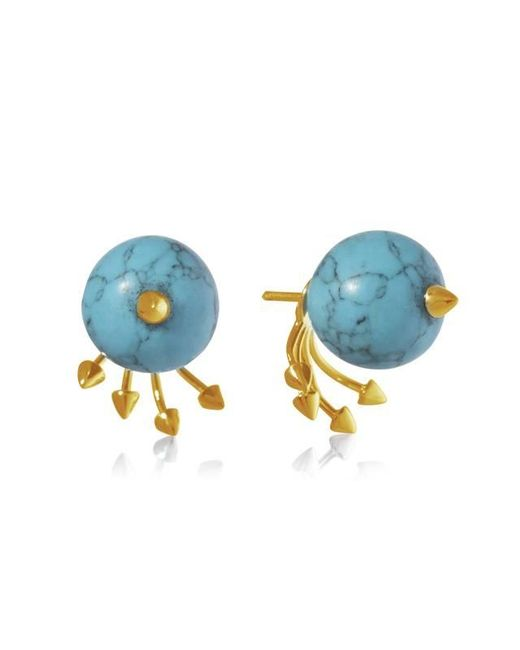 Yael Salomon | Blue Greta 05 Gold And Turquoise Earring | Lyst