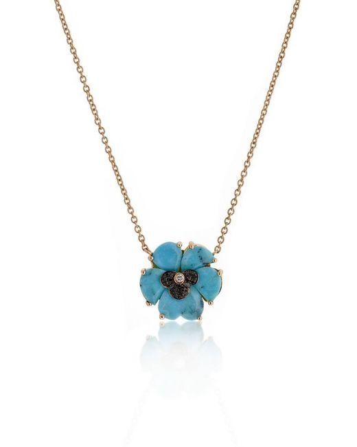 Christina Debs   Blue Wonderland Turquoise 18k Gold Pansy Pendant Necklace   Lyst