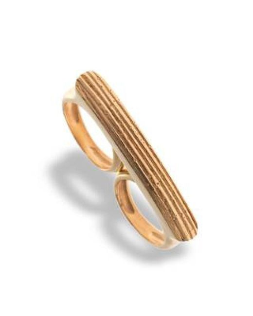 Hissia | Metallic Adjustable Gold Luna Double Ring | Lyst